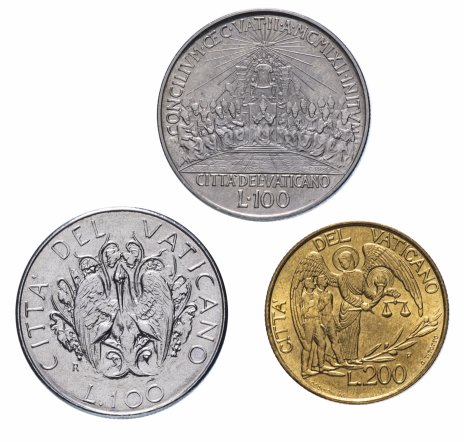 купить Ватикан набор из 3-х монет 1962-1997