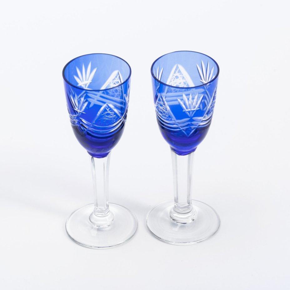 купить Набор из 2 рюмок из двухцветного стекла в технике алмазной грани, цветное стекло, СССР, 1970-1990 гг.