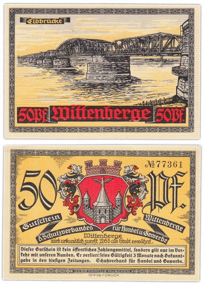 купить Германия (Виттенберг) 50 пфеннигов 1921 (Подвесной мост)