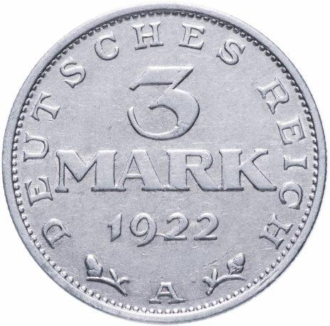 """купить Германия (Веймарская республика) 3 марки 1922 """"3-я годовщина Веймарской конституции"""" - случайный монетный двор"""
