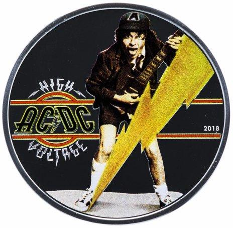 """купить Острова Кука 2 доллара 2018 """"AC/DC High voltage"""", в футляре с сертификатом"""
