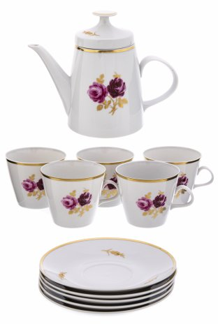 """купить Сервиз чайный с цветочным декором (на 5 персон), фарфор, деколь, золочение, мануфактура """"Lichte"""", Германия, 1966-1994 гг."""