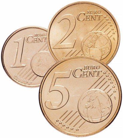 купить Испания набор монет от 1 до 5 евро центов 2011 (3 штуки)
