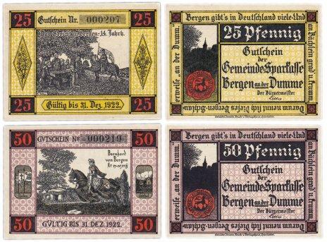 купить Германия (Ганновер: Берген-на-Думме) набор из 2-х нотгельдов 1922 (78.1a/B1)