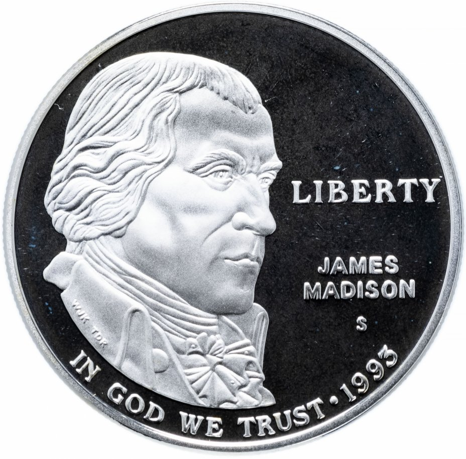 "купить США 1 доллар (dollar) 1993 S Proof ""Билль о правах, Джеймс Мэдисон"""