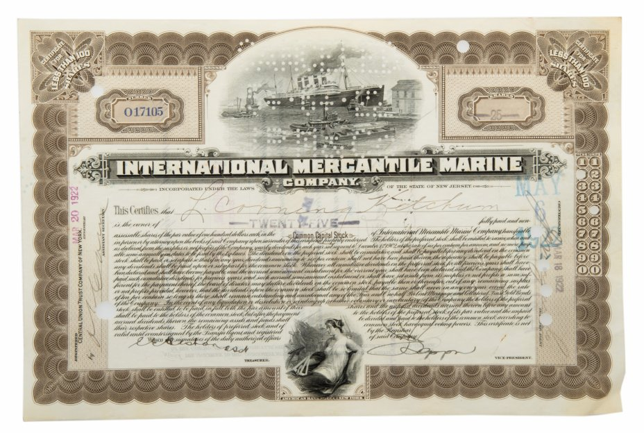 """купить Акция США INTERNATIONAL MERCANTILE MARINE ( ТИТАНИК)"""" Гашение представителями банка """"JP Morgan"""""""" 1922 г."""