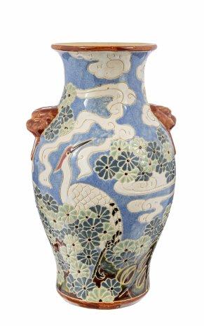 """купить Ваза для цветов """"Цапли"""" с ручками в виде львов, роспись, фаянс, Китай, 1970-1990 гг."""