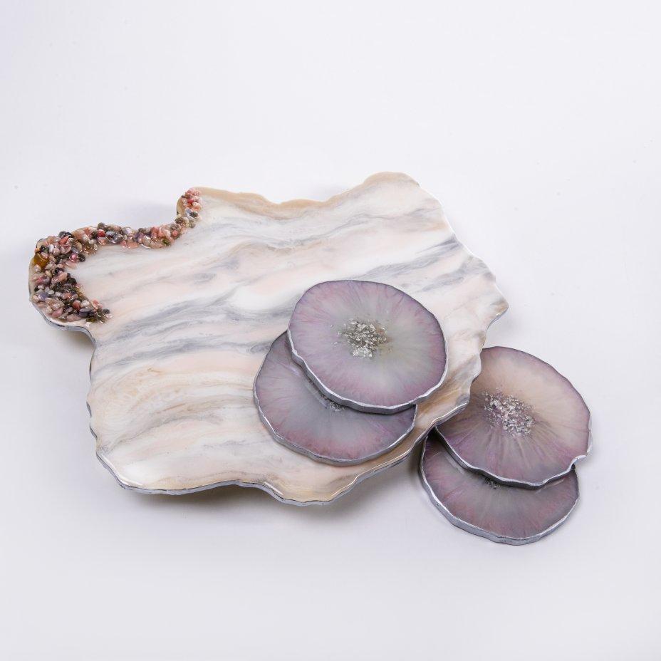 купить Набор для подачи чая в нежных тонах (5 предметов), авторская работа в технике Resin Art, глянцевое 3D покрытие, камень, Россия, 2021 г.