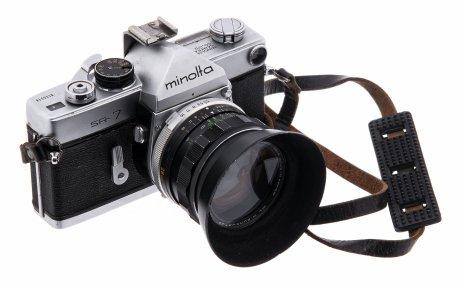 """купить Фотоаппарат пленочный """"Minolta SR-7"""" с объективом """"Rokkor-SG f=28mm"""" в комплекте с объективом """"Auto Tamron f=200mm"""" в кофре, металл, Япония, 1962-1966"""