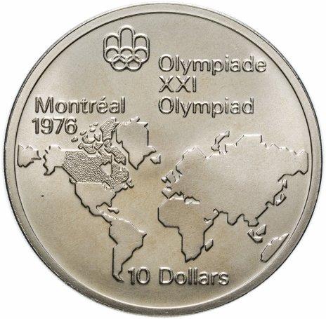 """купить Канада 10 долларов (dollars) 1973 """"XXI летние Олимпийские Игры, Монреаль 1976 - Карта мира"""""""