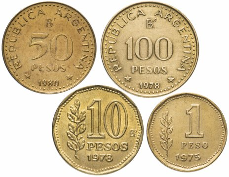 купить Аргентина набор из 4-х монет 1975-1980