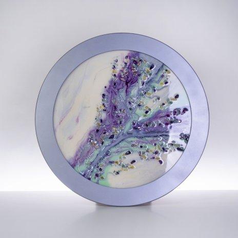 купить Панно настенное декоративное в нежных тонах, авторская работа в технике Resin Art, глянцевое 3D покрытие, натуральный камень, Россия, 2021 г.