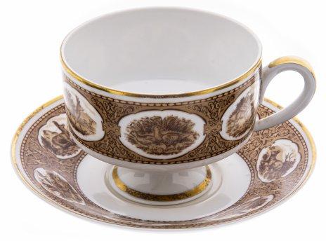 """купить Пара чайная """"Охота"""", фарфор, деколь, мануфактура """"Wallendorf"""", Германия, 1963-1990 гг."""