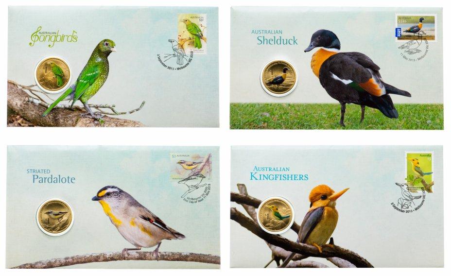 купить Тувалу 4 х 1 доллар 2013 Набор Птицы Австралии (в подарочных конвертах с маркой)