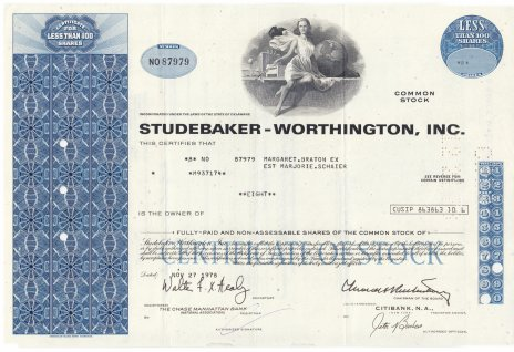 купить Акция США STUDEBAKER - WORTHINGTON, INC 1978