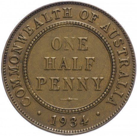 купить Австралия 1/2 пенни 1934