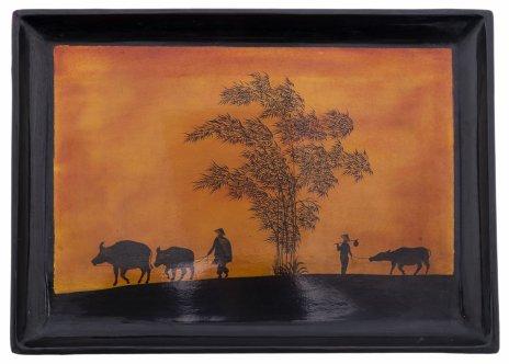 купить Поднос с лаковой миниатюрой, папье-маше, роспись, лак, Вьетнам, 1970-1990 гг.