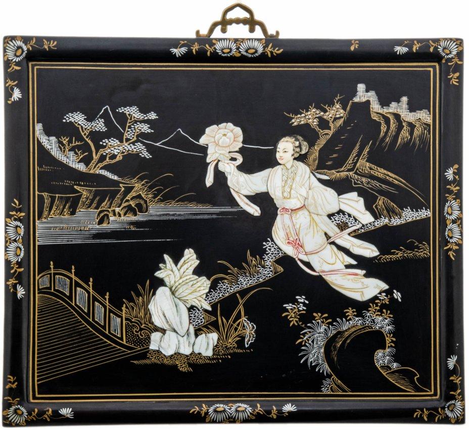 купить Панно настенное с изображением мифологической сцены, папье-маше, роспись, инкрустация перламутром, Китай, 1960-1980 гг.