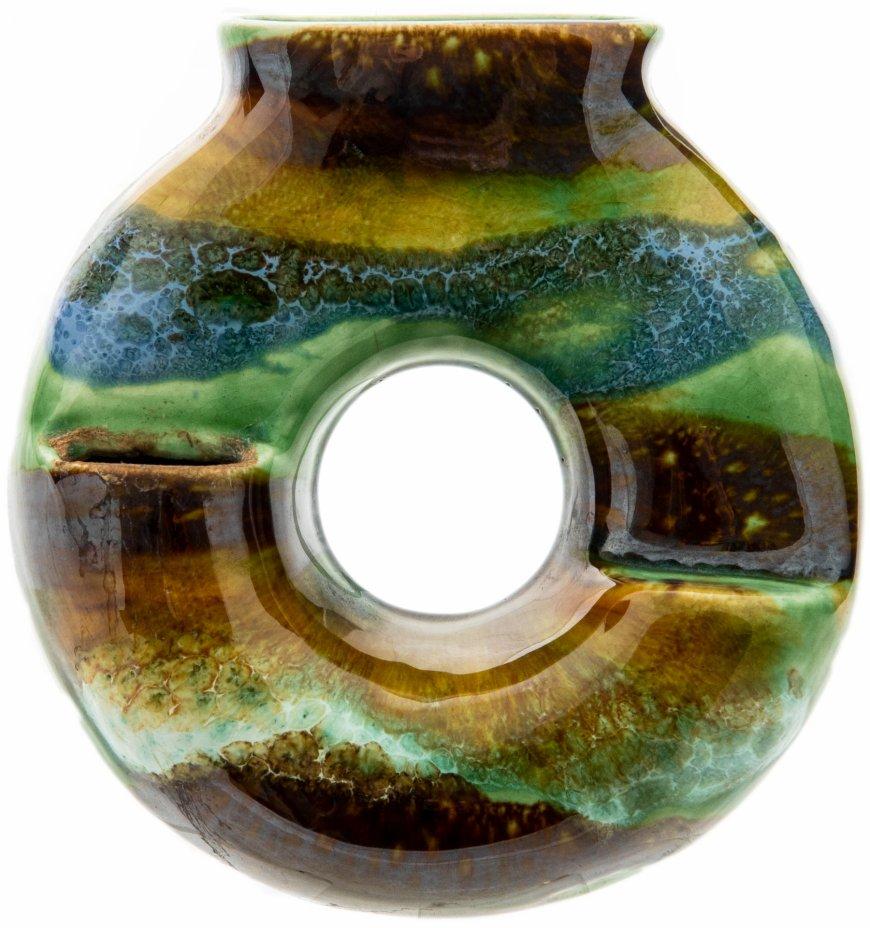 купить Кашпо настенное в форме кольца, керамика, глазурь, СССР, 1970-1990 гг.