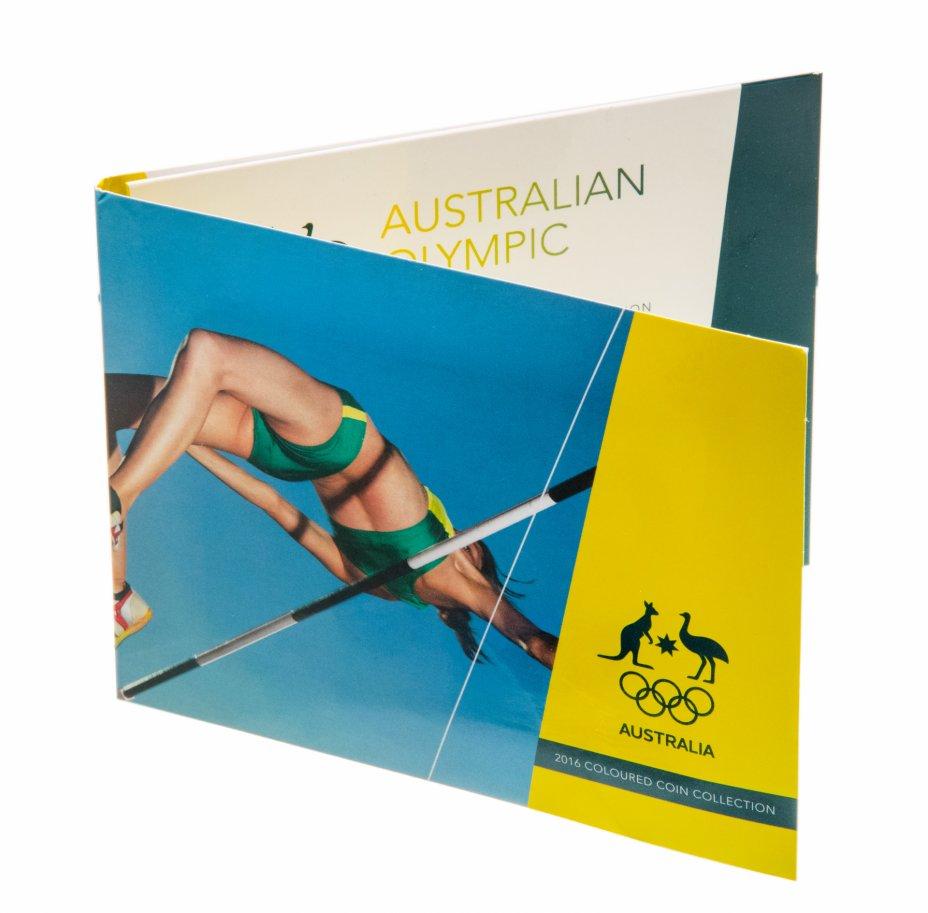 """купить Австралия, набор из 5 монет х 2 доллара 2016 памятные """"Олимпиада в РИО"""" цветная эмаль В буклете тип 1"""