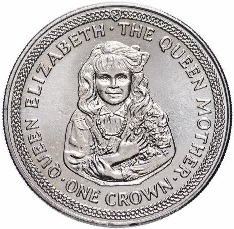 """купить Остров Мэн  1 крона 1985 """"85 лет со дня рожденя Королевы-Матери / Юная королева мать"""