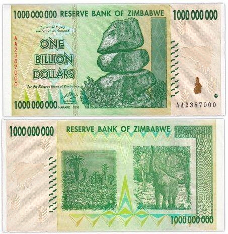 купить Зимбабве 1000000000 долларов 2008 (Pick 83)
