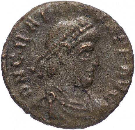 купить Римская Империя Грациан 367–383 гг фракция фоллиса (реверс: император идет вправо, волочит за волосы пленника)