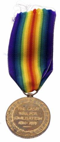 """купить Медаль союзническая """"За Победу в Первой Мировой войне ( """"Великая война за цивилизацию"""")"""" британского выпуска на оригинальной ленте, бронза, 1919 г."""