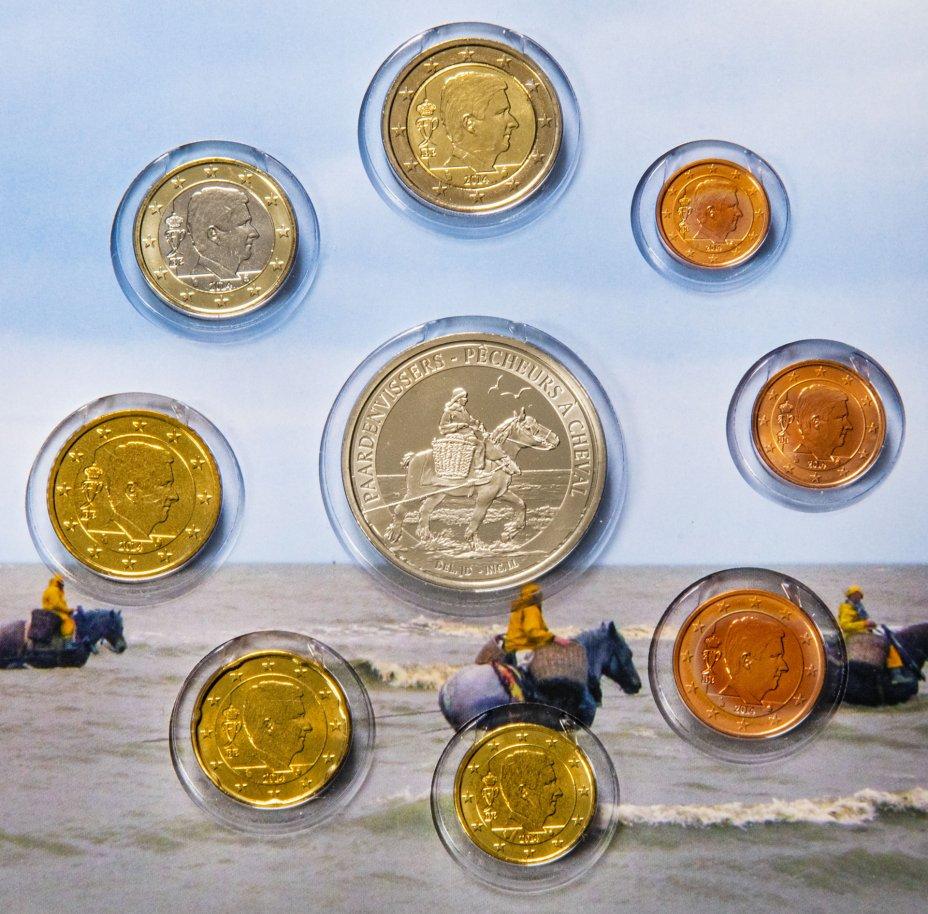 """купить Бельгия 2014 официальный набор евро из 8 монет и жетона в буклете """"конные рыбаки"""""""