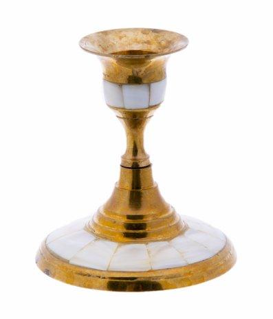 купить Подсвечник настольный для одной свечи, латунь, перламутр,  инкрустация, Индия, 1970-1990 гг.