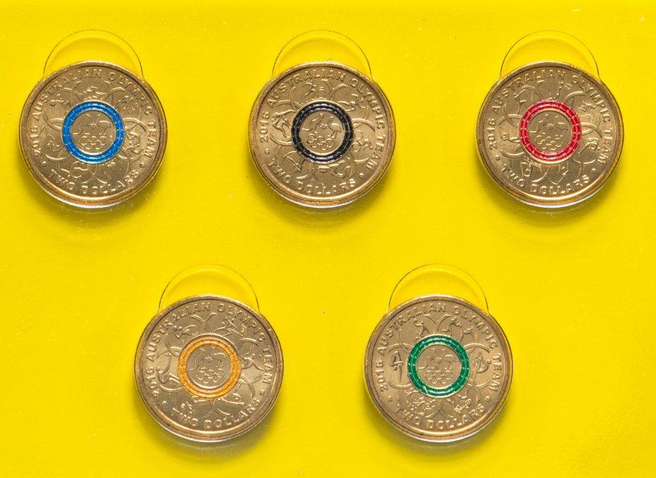 """купить Австралия, набор из 5 монет х 2 доллара 2016 памятные """"Олимпиада в РИО"""" цветная эмаль В буклете тип 2"""