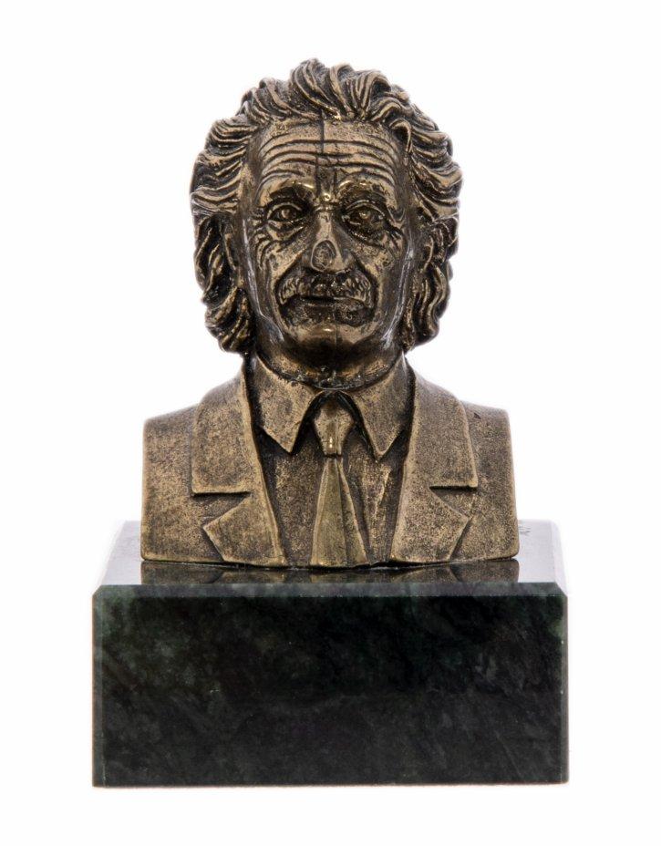 """купить Статуэтка миниатюра """"Бюст Эйнштейна"""", бронза, литьё, змеевик, Россия, 1990-2000 гг."""