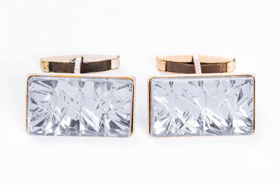 купить Запонки прямоугольной формы со стеклянными вставками с рельефным декором, металл, СССР, 1970-1980 гг.