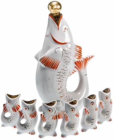 купить Набор из 7 предметов (штоф и рюмки) в виде рыб, СССР