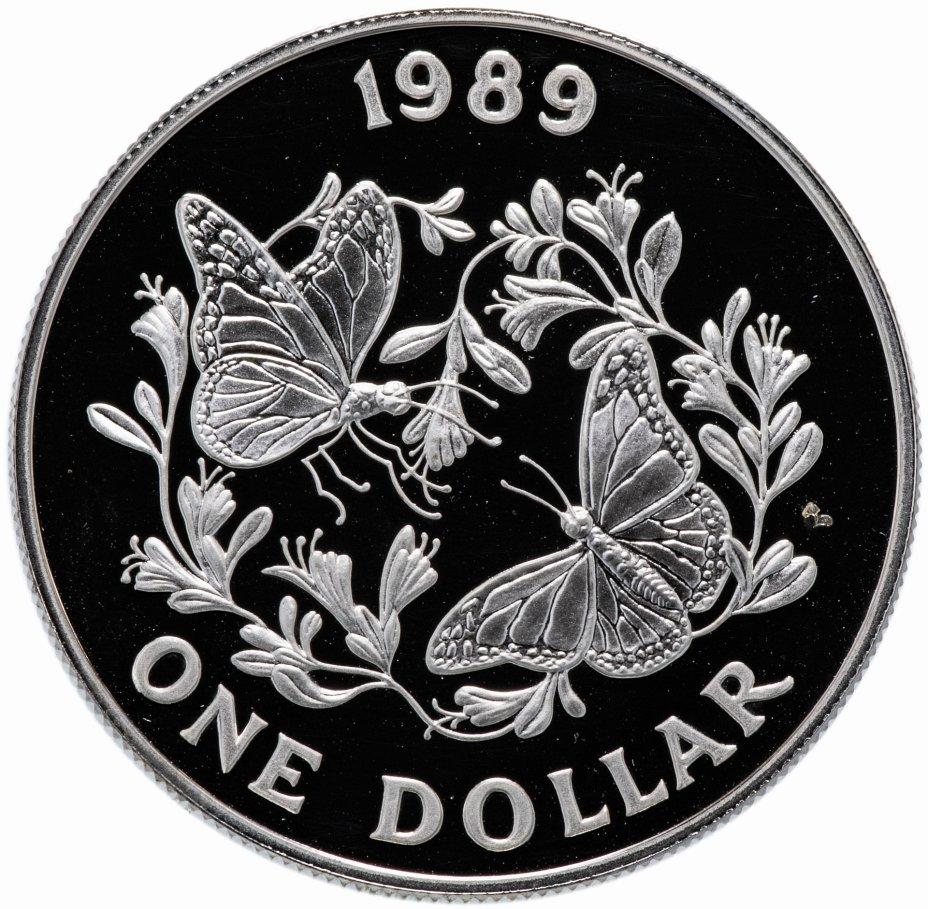 "купить Бермуды 1 доллар (dollar) 1989 ""Бабочка Данаида монарх"""
