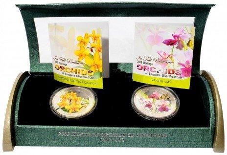 """купить Сингапур набор монет 5 долларов 2009 """"Чудесные цветы"""""""