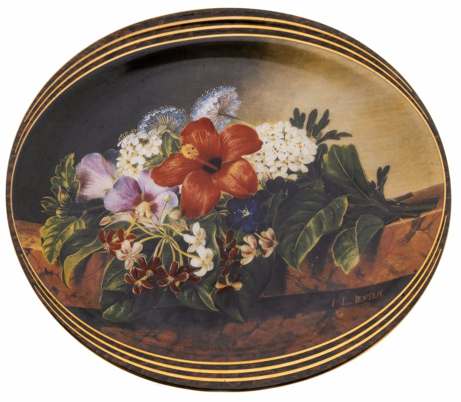 купить Тарелка настенная декоративная с изображением букета цветов, фарфор, деколь, автор картины Йохан Лаурентц Йенсен, Дания, 1995 г.