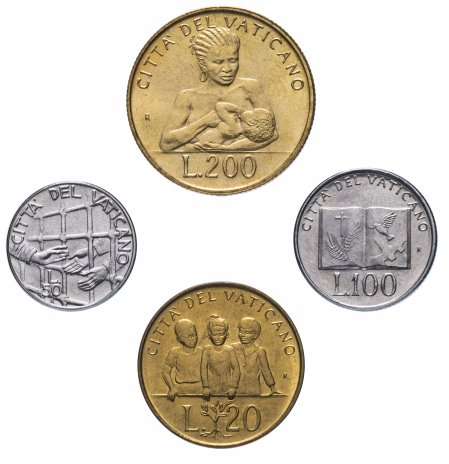 купить Ватикан набор из 4-х монет 1992-1994