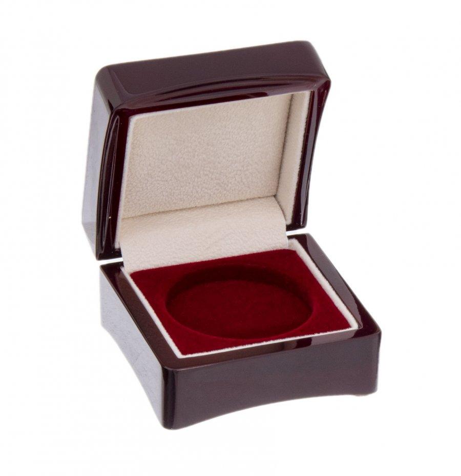 купить Деревянный футляр для монеты в капсуле (диаметр 46 мм), бордовый