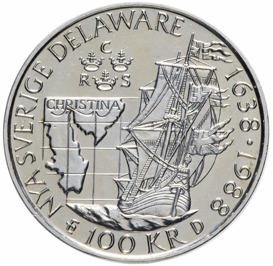 """купить Швеция 100крон 1988 """"350 лет Шведской колонии в Делавере"""""""