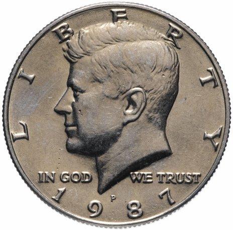 "купить США 50 центов (1/2 доллара, half dollar) 1987 Р Kennedy Half Dollar (Кеннеди) знак монетного двора ""Р"""