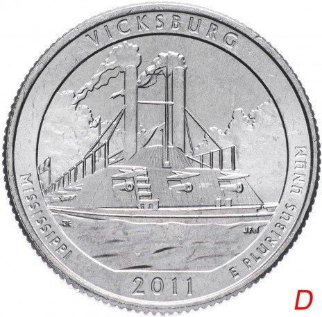 """купить США 1/4 доллара (25 центов, квотер) 2011 D — """"Национальный военный парк Виксбург"""" (9-й парк)"""
