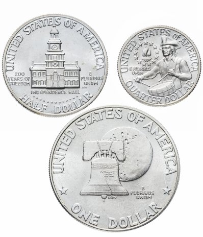 """купить США набор из 3 серебряных монет 1976 года """"200 лет независимости США"""" в банковской запайке"""