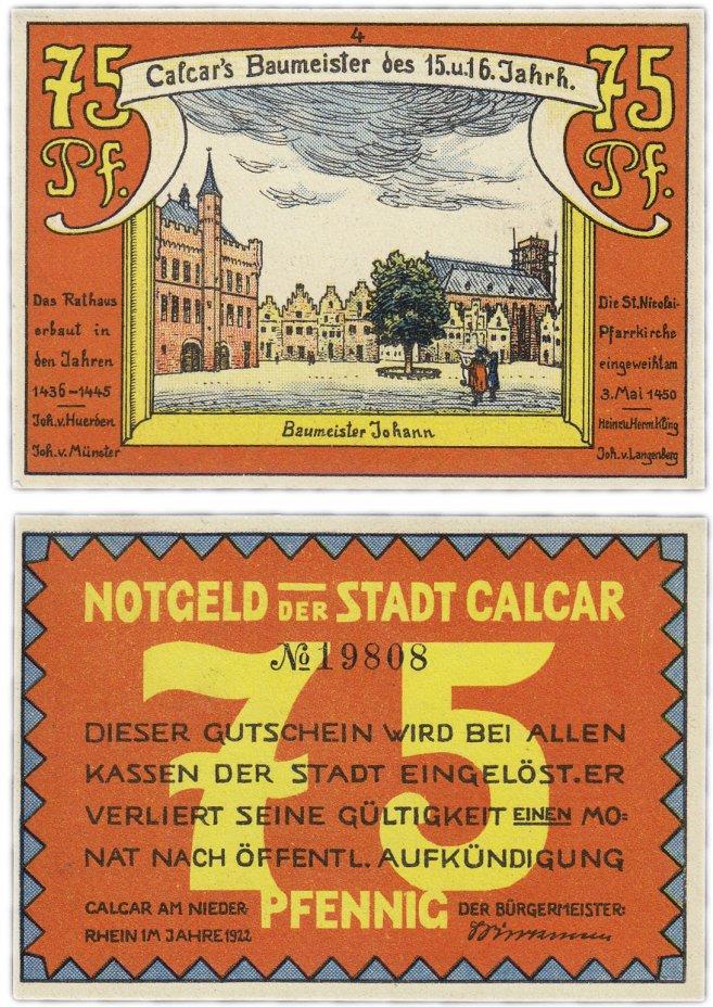"""купить Германия (Рейнская провинция: Калькар) 75 пфеннигов 1922 (214.1/B1) """"Живописец Иоганн Баумейстер"""""""