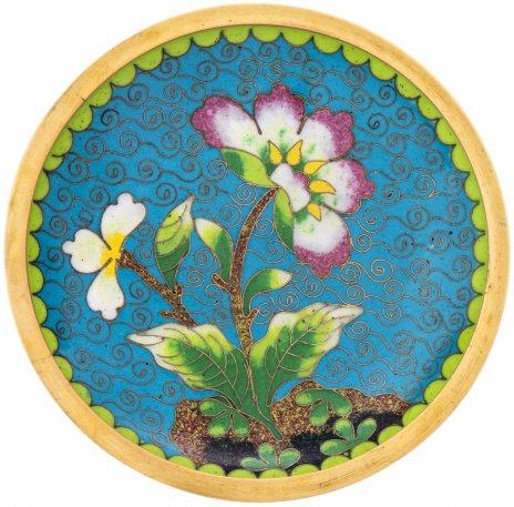 """купить Блюдце с цветочным декором в технике """"клуазоне"""", латунь, эмаль, Китай, 1960-1970 гг."""