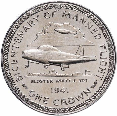 """купить Остров Мэн 1 крона 1983 """"200 лет полёту человека - Реактивный самолет"""""""