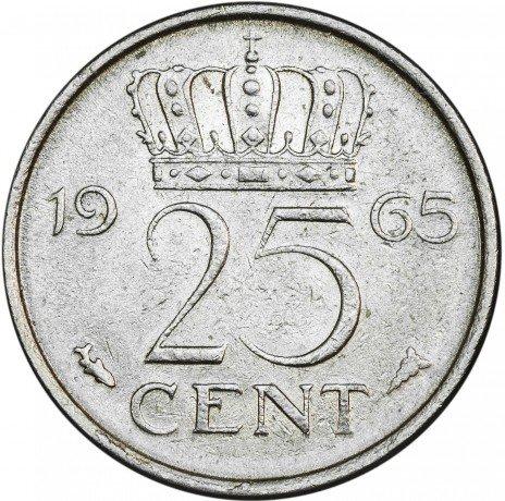 купить Нидерланды  25 центов 1965