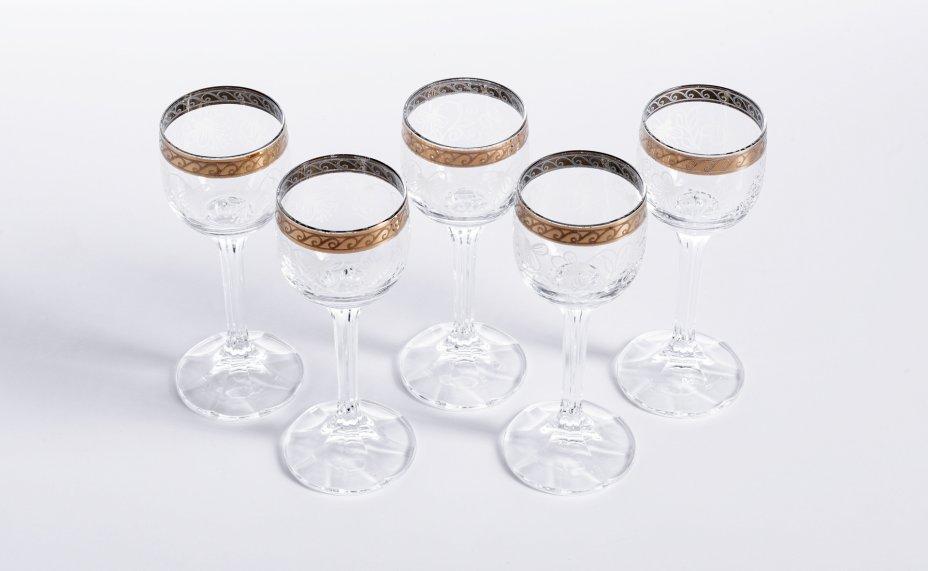купить Набор из 5 рюмок с растительным декором, стекло, деколь, золочение, Чехия, 1990-2010 гг.