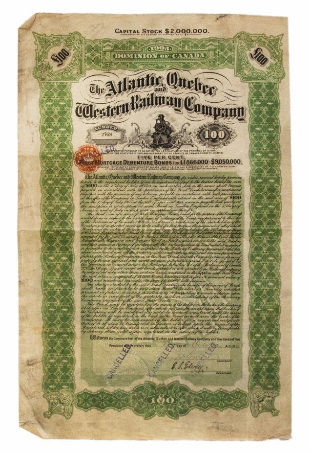 купить Акция Канады The Atlantic, Quebec and Western Railway, Bond, 1908 г.