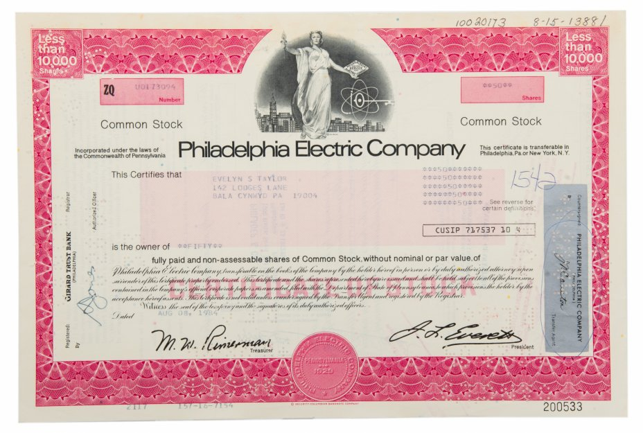купить Акция США Philadelphia Electric Company 1984 г.